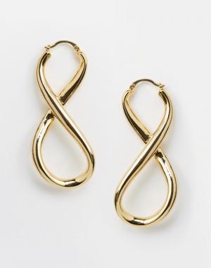 Me & Zena Серьги-кольца Infinity. Цвет: золотой
