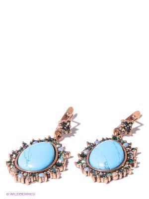 Серьги Jenavi. Цвет: бронзовый, голубой