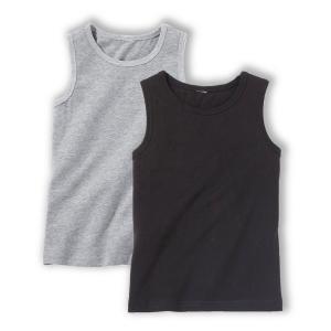2 однотонных топа 3-12 лет La Redoute Collections. Цвет: белый/серый меланж,красный + белый,черный + серый меланж