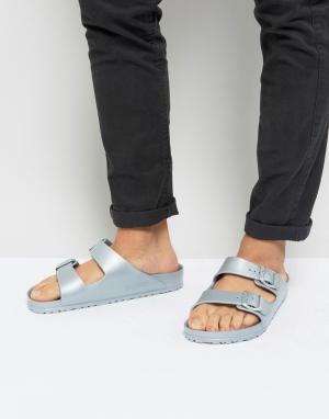 Birkenstock Серебристые сандалии с эффектом металлик Arizona Eva. Цвет: серебряный