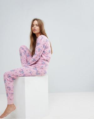 Chelsea Peers Пижамный комплект Dinomite. Цвет: розовый