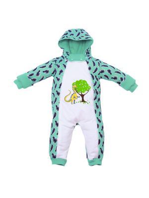 Комбинезон нательный для малышей batik. Цвет: светло-зеленый, белый