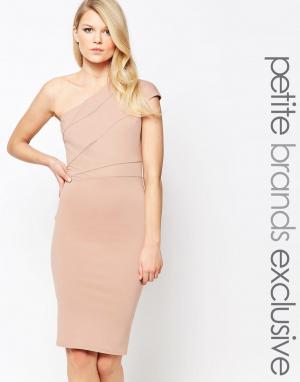 John Zack Petite Платье-футляр на одно плечо. Цвет: розовый