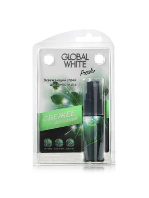 Освежающий спрей для полости рта GLOBAL WHITE Fresh, 15 мл.. Цвет: темно-зеленый, белый