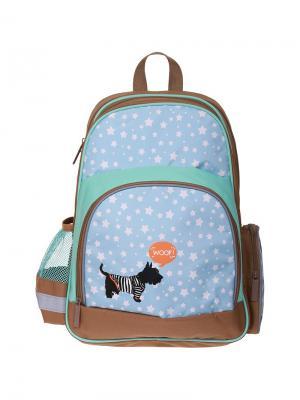 Рюкзак Light Woof 42*28*17см, 2 отделения, 3 кармана, эргономичная спинка Berlingo. Цвет: голубой, коричневый
