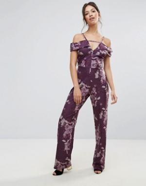 Hope and Ivy Комбинезон с открытыми плечами и цветочным принтом &. Цвет: фиолетовый