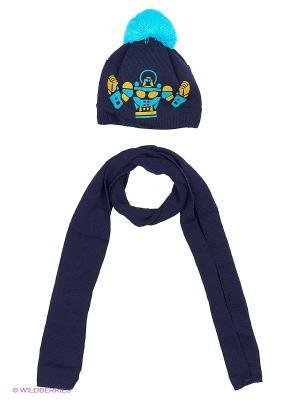 Шапка и шарф Agbo. Цвет: темно-синий, бирюзовый