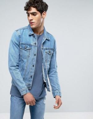 Dr Denim Светлая джинсовая куртка в стиле ретро. Цвет: синий