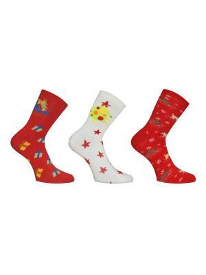Носки 3 пары Master Socks. Цвет: белый, бордовый