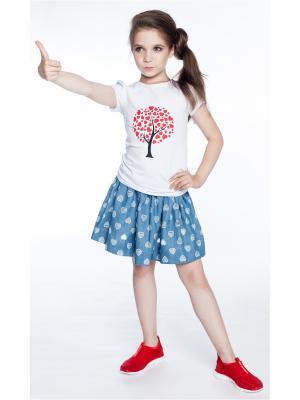 Комплект: футболка, юбка Sheldi. Цвет: белый, голубой