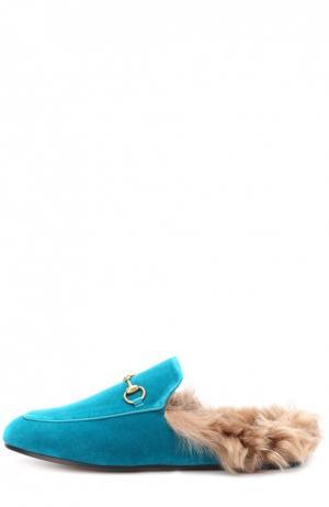 Бархатные сабо Princetown с пряжкой-трензелем Gucci. Цвет: бирюзовый