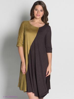 Платье МадаМ Т. Цвет: коричневый, оливковый