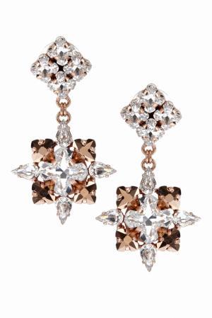Серьги с кристаллами Ellen Conde. Цвет: серебряный, розовое золото
