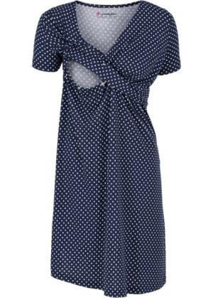 Мода для беременных и кормящих мам: трикотажное платье-стретч с коротким рукавом (темно-синий/белый в горошек) bonprix. Цвет: темно-синий/белый в горошек