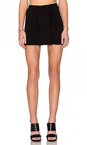 Мини юбка с драпировкой по бокам Bella Luxx. Цвет: черный