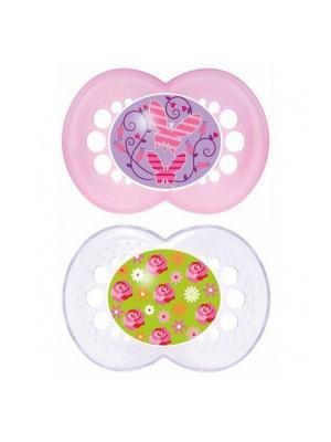 Пустышка силиконовая MAM Original  2 шт. 6-16 месяцев. Цвет: прозрачный, розовый