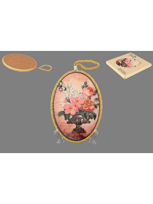 Подставка под горячее Букет с шиповником Elan Gallery. Цвет: розовый, желтый, белый, зеленый, коричневый