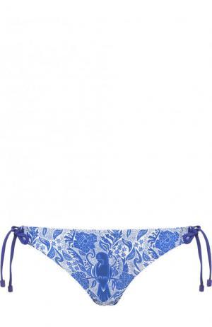 Плавки-бикини с принтом и бантами Lazul. Цвет: синий