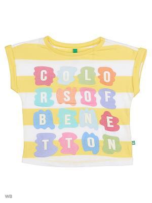 Футболка United Colors of Benetton. Цвет: белый, желтый, зеленый, красный
