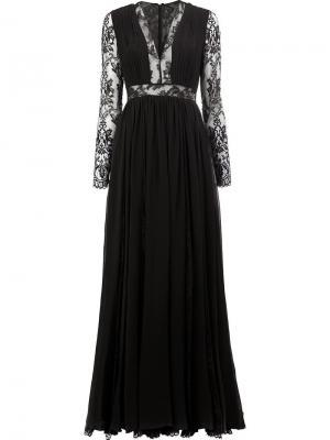 Платье с кружевными вставками Zuhair Murad. Цвет: чёрный