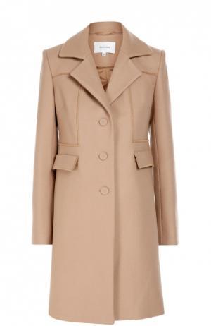 Шерстяное пальто прямого кроя с карманами Carven. Цвет: бежевый