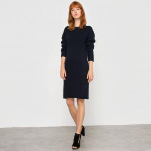Трикотажное платье с длинными рукавами La Redoute Collections. Цвет: бежевый,синий морской