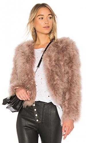 Меховое пальто deora LAMARQUE. Цвет: сиреневый