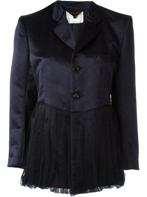Атласный пиджак с баской Comme Des Garçons Vintage. Цвет: синий