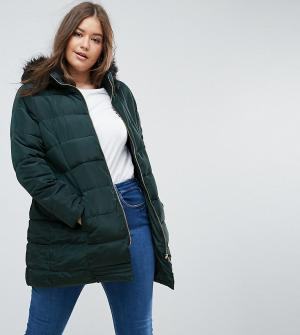 Brave Soul Plus Утепленное пальто с поясом. Цвет: зеленый