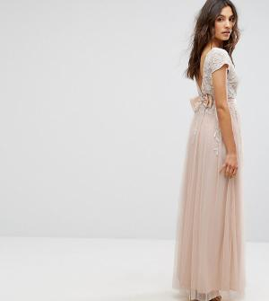 Maya Платье макси с бантом на спине и короткими рукавами отделкой. Цвет: розовый
