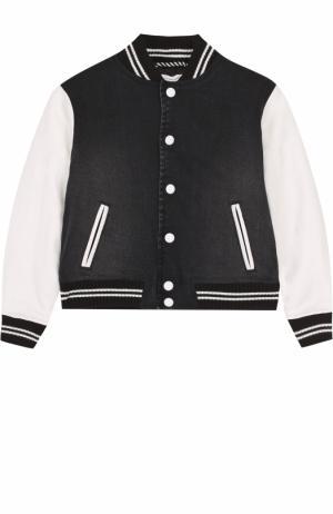 Бомбер с кожаной отделкой и вышивкой Marc Jacobs. Цвет: черно-белый