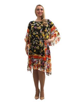 Платье - туника Lorentino. Цвет: черный, светло-бежевый