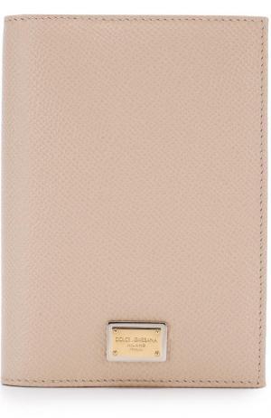 Кожаная обложка для документов Dolce & Gabbana. Цвет: светло-бежевый