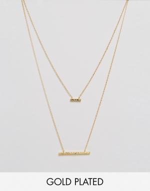 Gorjana Двухъярусное ожерелье с двумя подвесками кованным эффектом M. Цвет: золотой