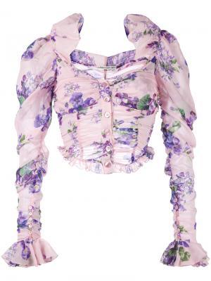 Укороченная блузка с цветочным узором Alessandra Rich. Цвет: розовый и фиолетовый