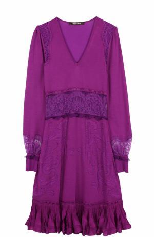 Приталенное платье-миди с кружевными вставками Roberto Cavalli. Цвет: фиолетовый