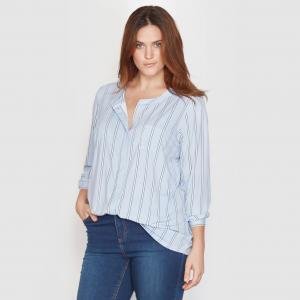 Блузка из трикотажа TAILLISSIME. Цвет: синий в белую полоску