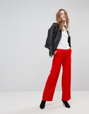 New Look Красные широкие брюки. Цвет: красный