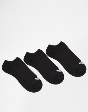 Adidas Originals 3 пары черных спортивных носков с логотипом-трилистником Origin. Цвет: черный