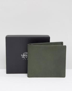 Saville Row Кожаный бумажник. Цвет: зеленый
