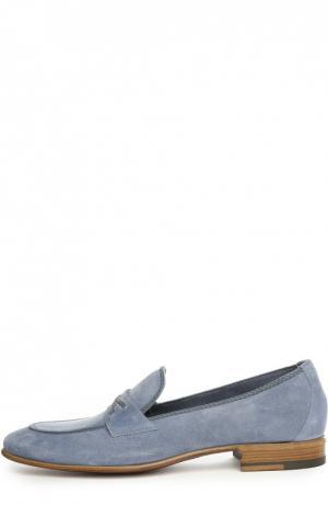 Замшевые лоферы с перемычкой A. Testoni. Цвет: голубой