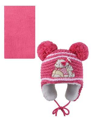 Шапка, шарф Pro-han. Цвет: розовый, бледно-розовый