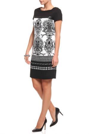 Прямое принтованное платье XS MILANO. Цвет: черный