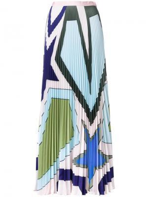 Плиссированная юбка Star Heart Mary Katrantzou. Цвет: многоцветный