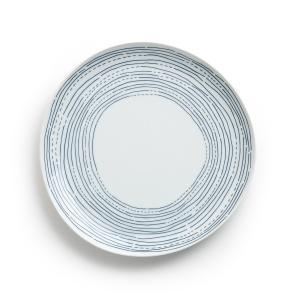 Комплект из 4 мелких тарелок фарфора, Ø25 см, Agaxan AM.PM.. Цвет: синий/ белый