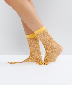ASOS Оранжевые сетчатые носки. Цвет: оранжевый