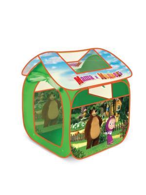 Детская игровая палатка Играем вместе маша и медведь 83*80*105см в сумке. Цвет: зеленый