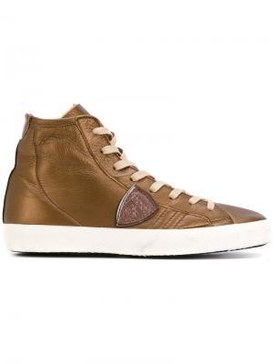 Хайтопы на шнуровке Philippe Model. Цвет: коричневый