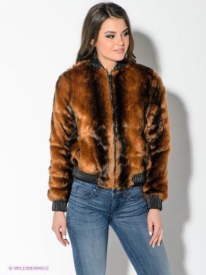 Куртка Oodji. Цвет: коричневый, черный