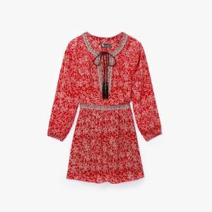 Платье из шелка с принтом THE KOOPLES. Цвет: наб. рисунок красный